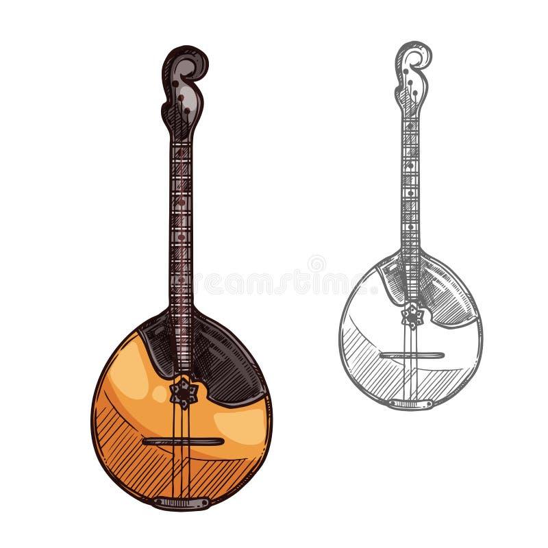 Domra of mandolineinstrument van de schets het Russische muziek royalty-vrije illustratie
