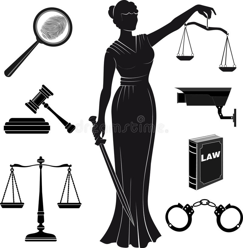 domstol Uppsättning av symboler på ett tema det juridiskt lag Themis royaltyfri illustrationer