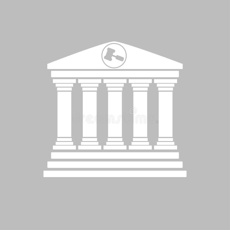domstolbyggnadsfasad i plana designgrå färger royaltyfri illustrationer