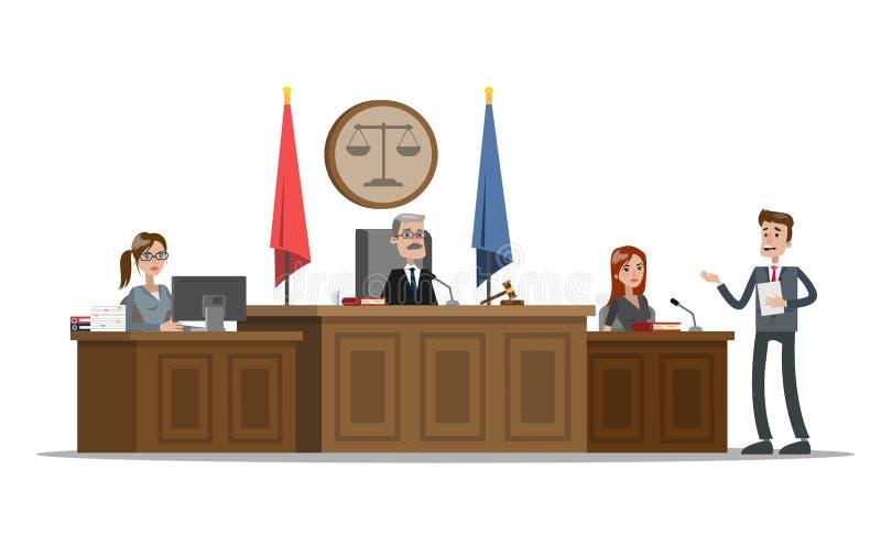 Domstolbyggnadsinre med rättssalen Försökprocess royaltyfri illustrationer
