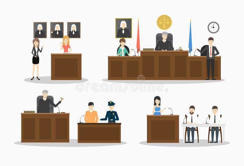 Domstolillustrationuppsättning vektor illustrationer