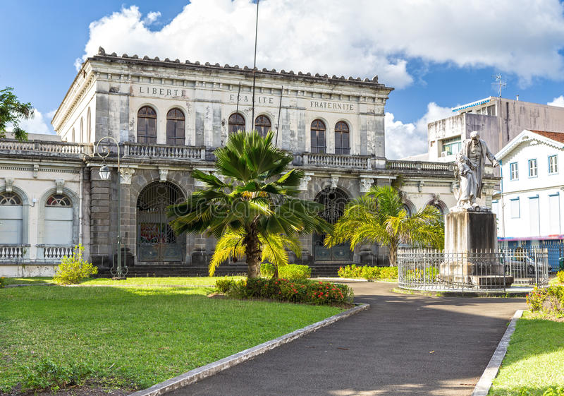Domstolsbyggnad Palais de rättvisa Martinique Fort-de-France arkivbilder
