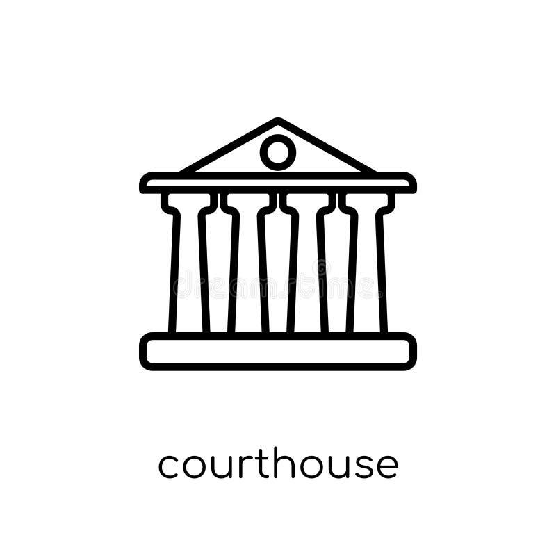 Domstolsbyggnadsymbol Moderiktig modern plan linjär vektordomstolsbyggnadico stock illustrationer