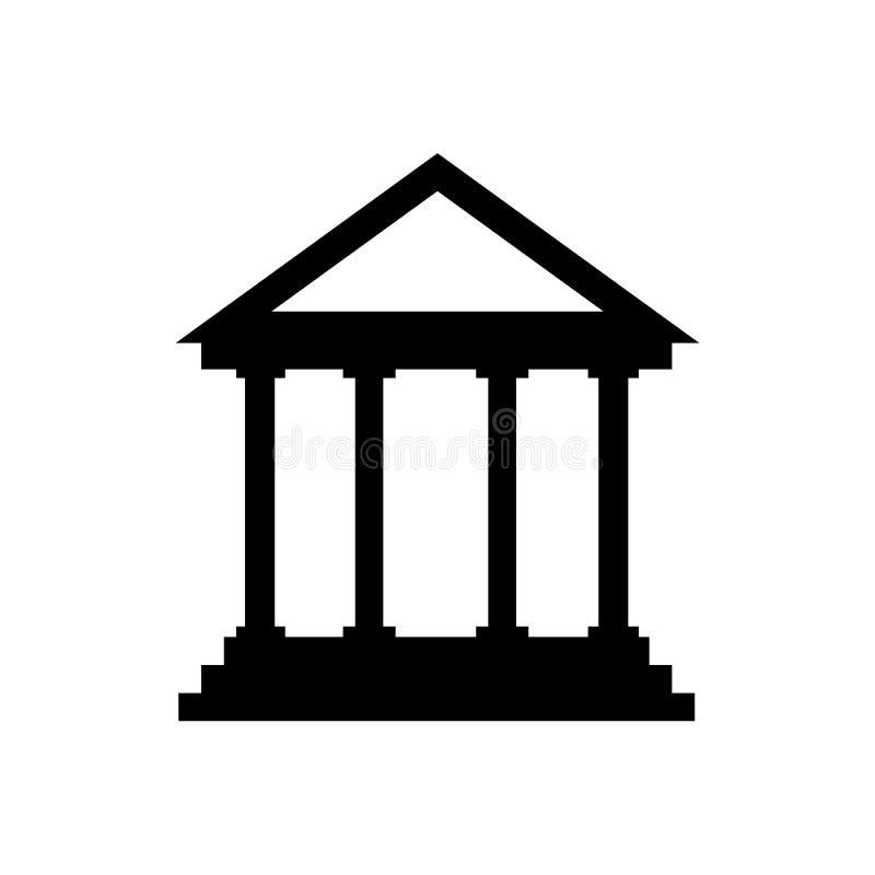 Domstolsbyggnadsymbol, plant tecken, fast pictogram som isoleras på vit Historiskt byggnadssymbol, logoillustration royaltyfri illustrationer