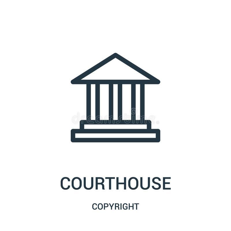 domstolsbyggnadsymbolsvektor från copyright-samling Tunn linje illustration för vektor för domstolsbyggnadöversiktssymbol royaltyfri illustrationer