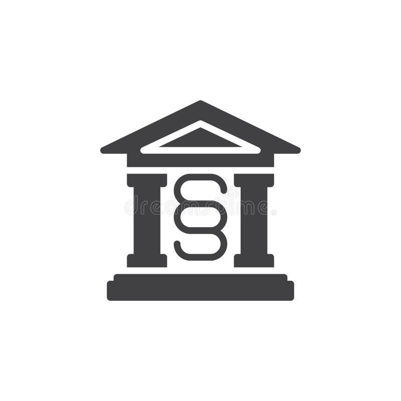 Domstolsbyggnadsymbolsvektor, fyllt plant tecken, fast pictogram som isoleras på vit vektor illustrationer