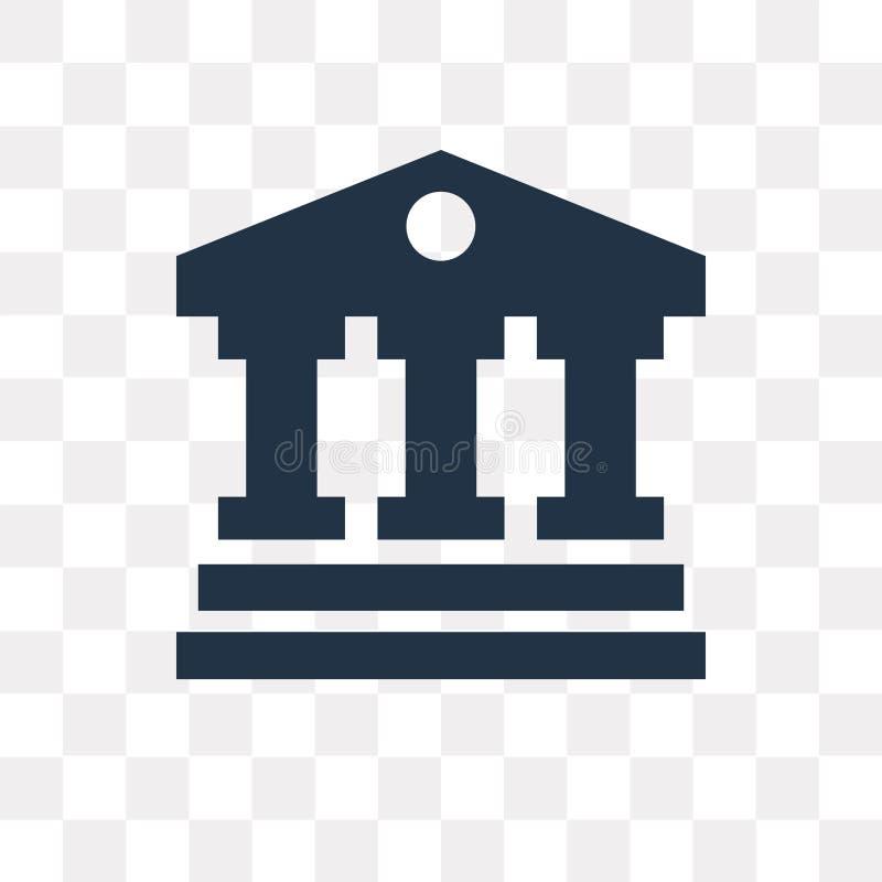 Domstolsbyggnadvektorsymbol som isoleras på genomskinlig bakgrund, domstol royaltyfri illustrationer