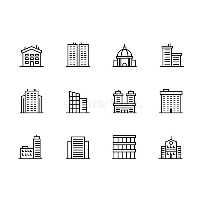 Domu i budynku ikony prości symbole ustawiający Zawiera ikony biznesowego biuro, miasta drapacz chmur, budynek mieszkalny, miasto ilustracja wektor