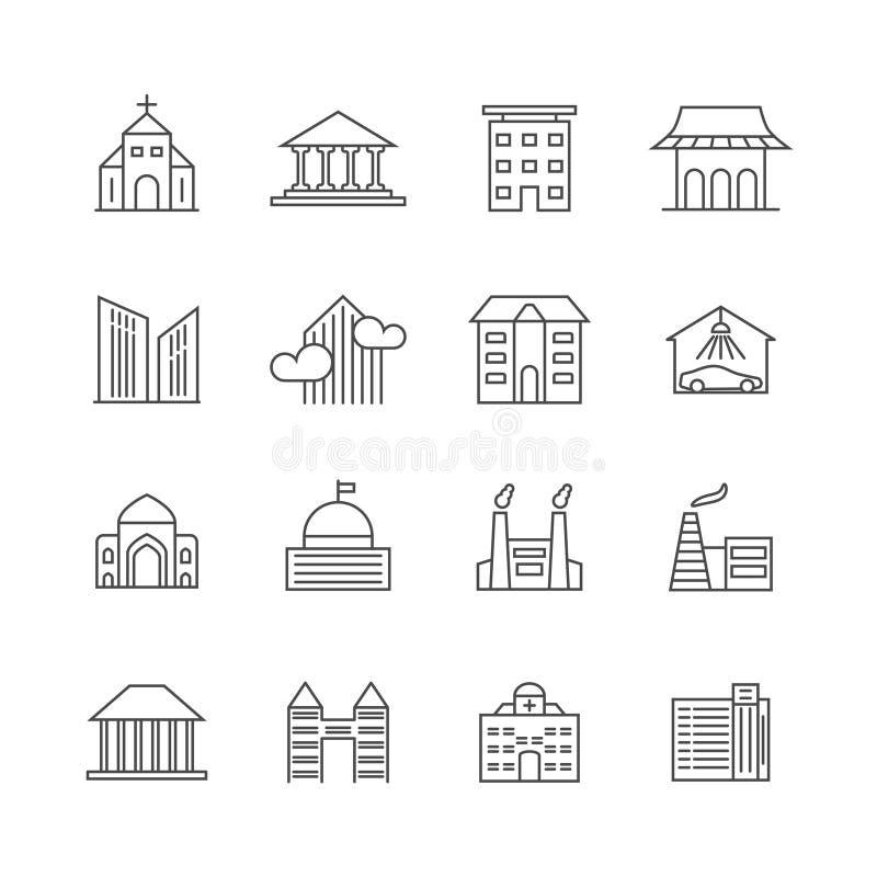 Domu i budynku wektoru linii ikony Nieruchomość konturu symbole ilustracji