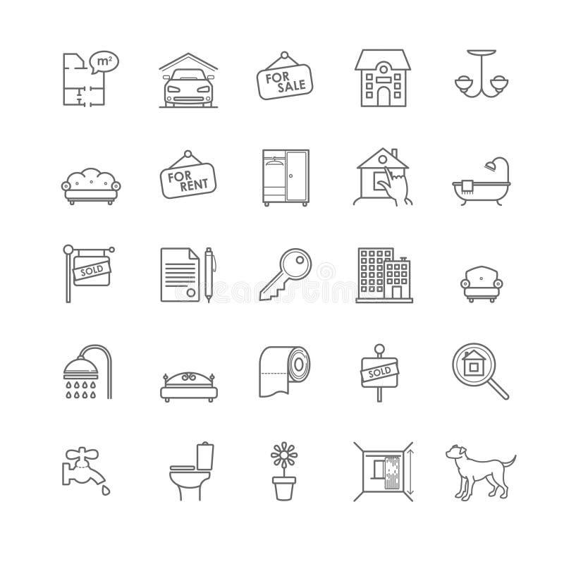 Domu i nieruchomości ikony ustawiać ilustracja wektor