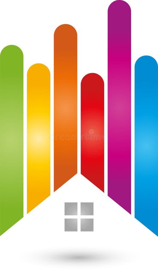 Domu i tęczy kolory, malarza logo ilustracja wektor