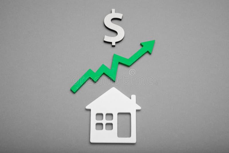 Domu kosztu pojęcie, pieniężny gospodarki rozwiązanie wzrost obrazy stock
