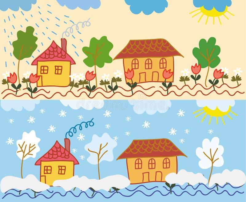 domu krajobraz royalty ilustracja