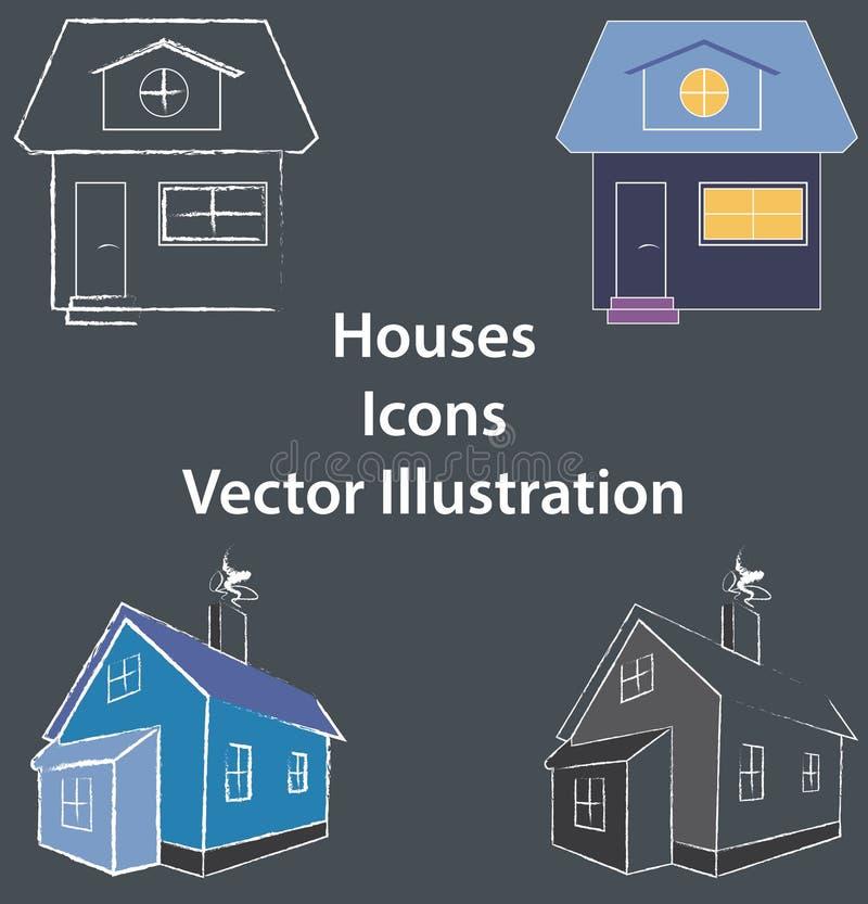 Domu mieszkanie i 3D ilustracja sieć, apps, coloured - ikon lub loga use - ilustracji
