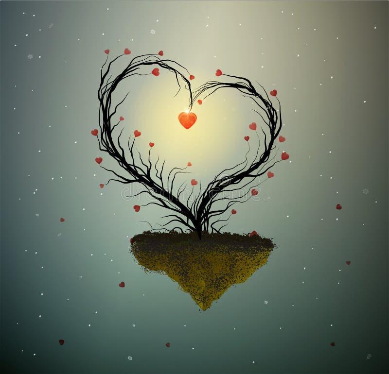 Domu rodzinnego pomysł, magiczny drzewo wiosny miłość, drzewo z sercem z gniazdeczkiem inside i dwa białego ptaka, cukierki dom,  ilustracji
