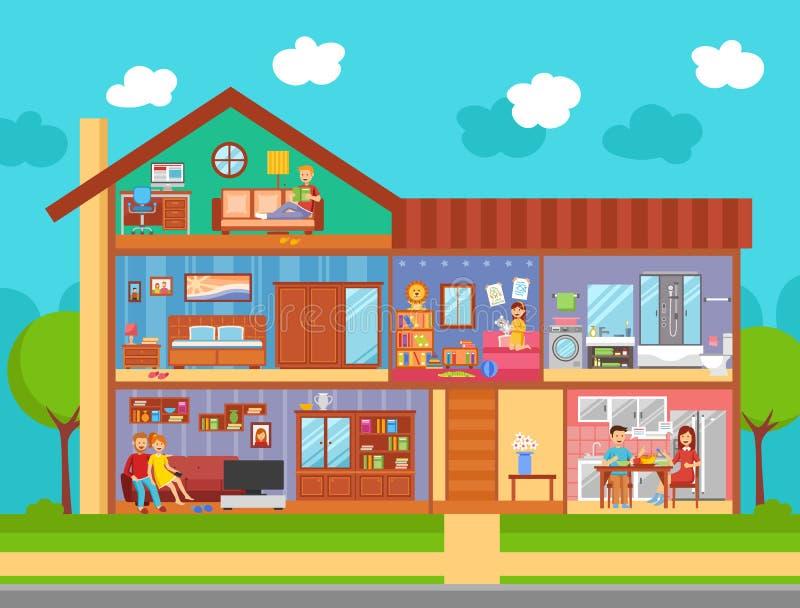 Domu Rodzinnego Wewnętrznego projekta pojęcie ilustracja wektor