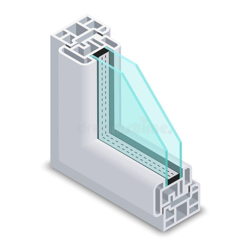 Domu szklanego okno jasny przekrój poprzeczny Ramowa struktura wektoru ilustracja royalty ilustracja