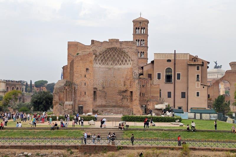Domus Aurea, door Keizer Nero in Rome, in Roman Forum wordt gebouwd dat stock afbeelding
