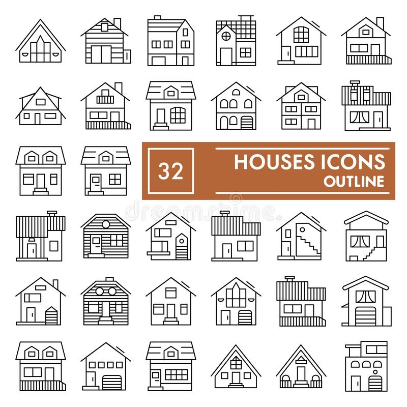 Domy cienieją kreskowego ikona set, chałupa symbole kolekcja, wektorów nakreślenia, logo ilustracje, domów znaki liniowi royalty ilustracja