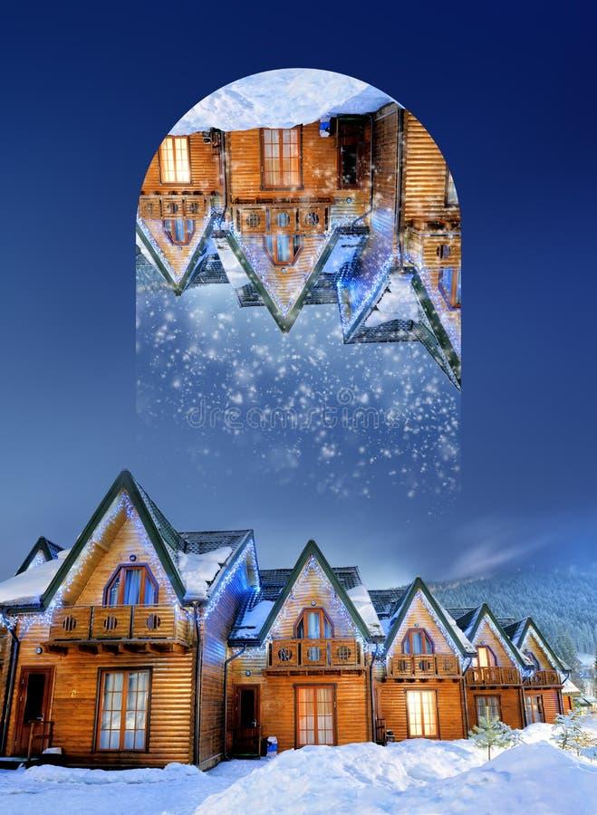 Domy dekorujący dla bożych narodzeń przy nocą Geometryczni odbicia e ilustracji