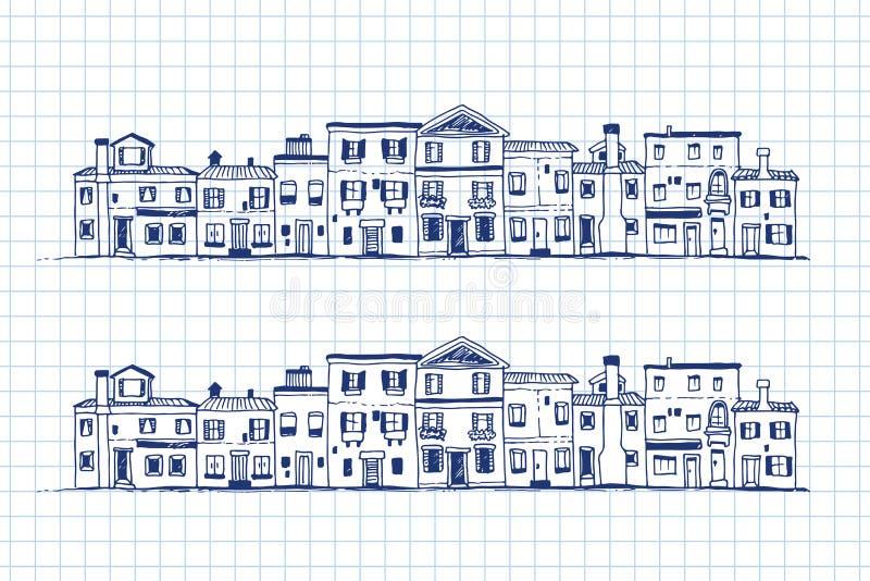 Domy doodle, ręka rysująca ilustracja ilustracja wektor