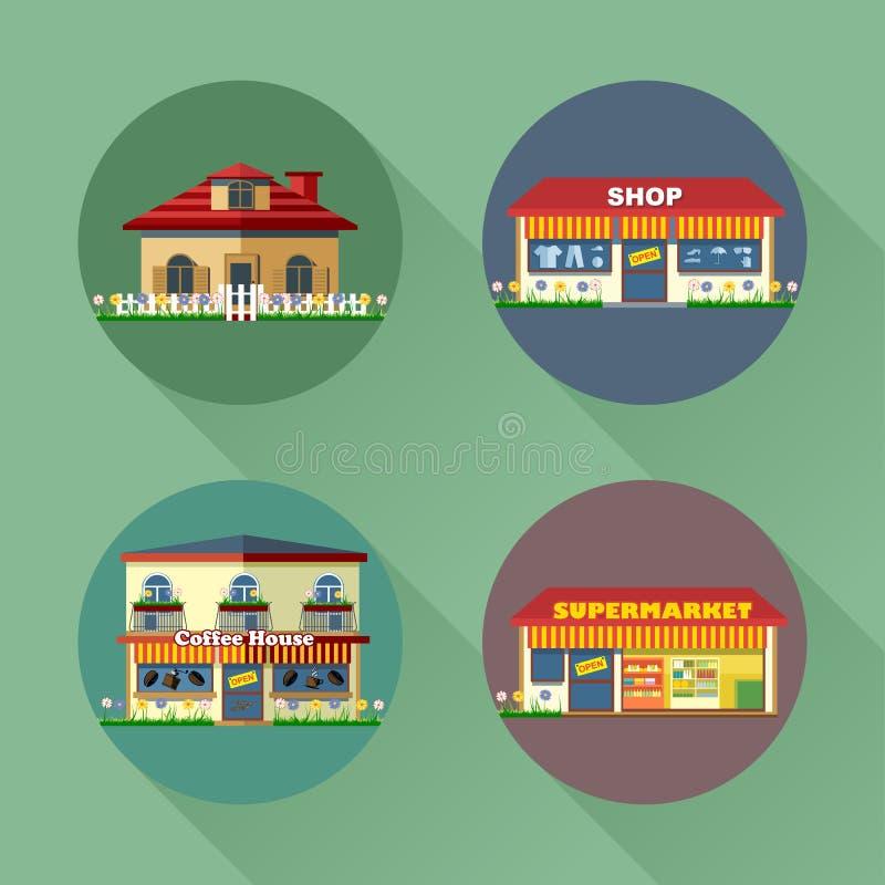 Domy i budynek ustawiający mieszkanie styl Żyć, sklep, supermarket, kawa royalty ilustracja