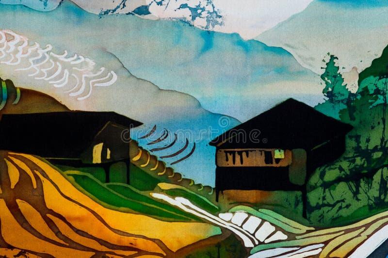 Domy na ryżowych tarasach, czerep, gorący batik, handmade abstrakcjonistyczna nadrealizm sztuka na jedwabiu royalty ilustracja