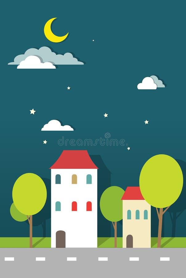 Domy przy noc papierem ilustracja wektor