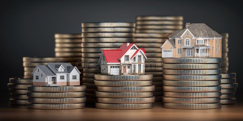Domy różny rozmiar z różną wartością na stertach monety Pojęcie własności, hipoteki i nieruchomości inwestycja, ilustracji