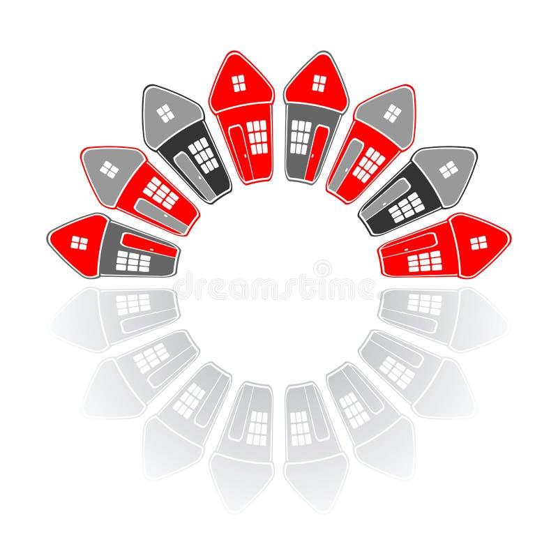 Domy w okręgu kształcie koncepcja real nieruchomości ilustracji