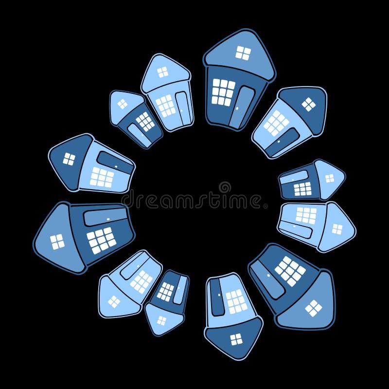 Domy w okręgu kształcie na czarnym tle ilustracji