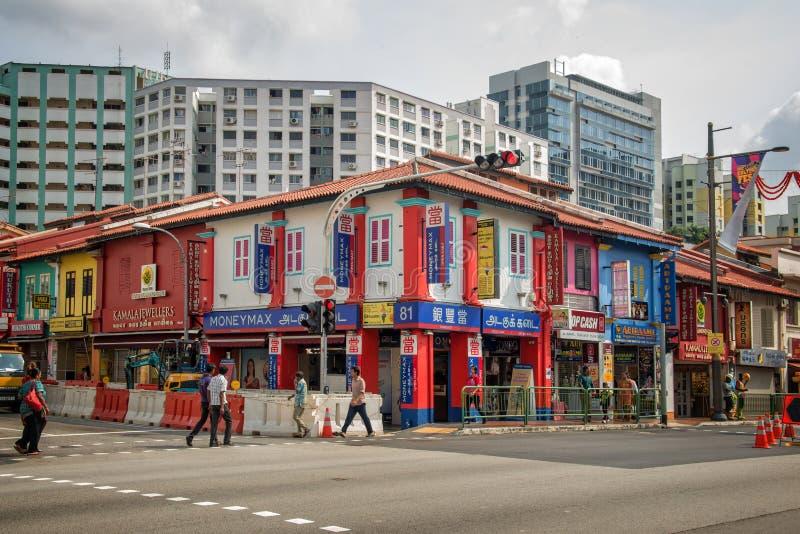 Domy w ulicach Mały India w Singapur zdjęcie stock