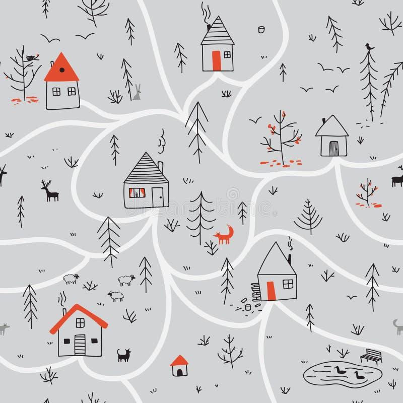 Domy w zima lasowym bezszwowym wzorze z zwierzętami siwieją backg royalty ilustracja