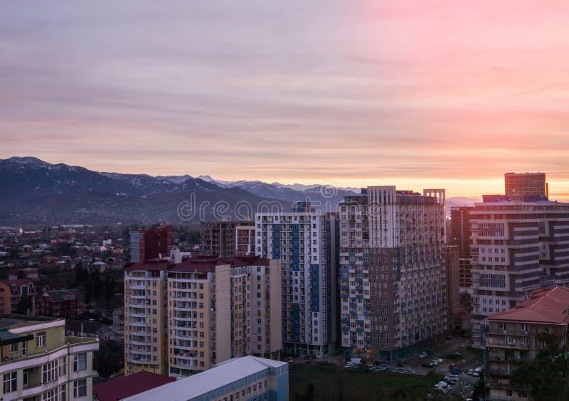 Domy w zmierzchu w Batumi, obraz royalty free