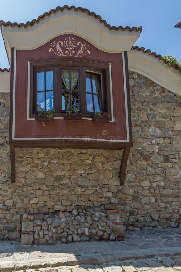 Domy xix wiek w starym miasteczku miasto Plovdiv, Bułgaria zdjęcia royalty free
