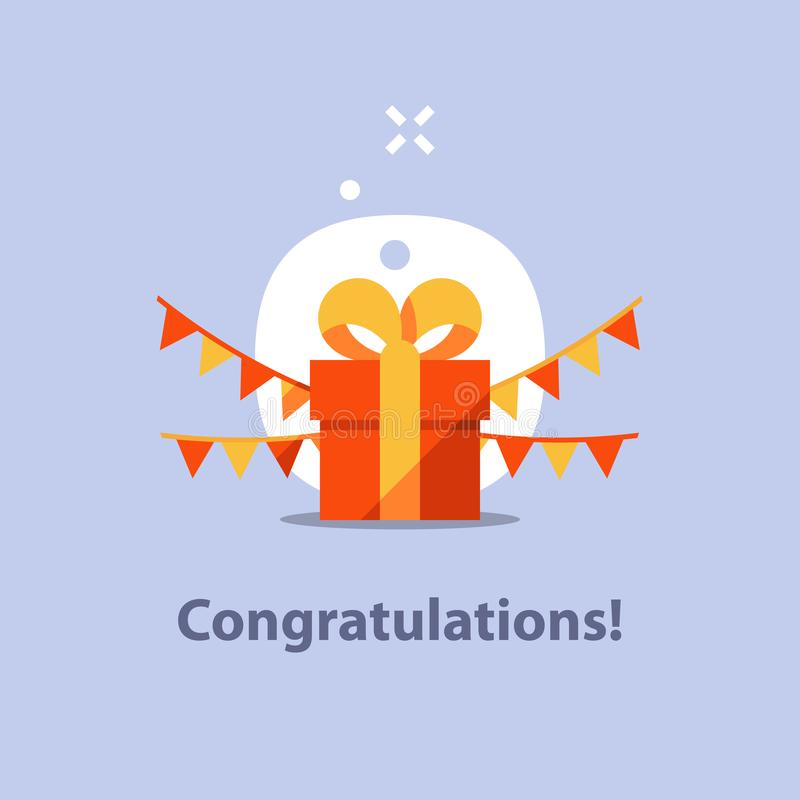 Don actuel, cadeau étonnant, boîte rouge, ruban jaune, recevant le prix spécial, félicitation d'anniversaire, célébration d'amuse illustration libre de droits