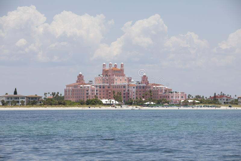 The Don CeSar historic hotel in St. Pete. `s beach, Florida seen from Cruise boat. Instantly known as Florida`s `Pink Palace` when it opened back in 1928 royalty free stock photo