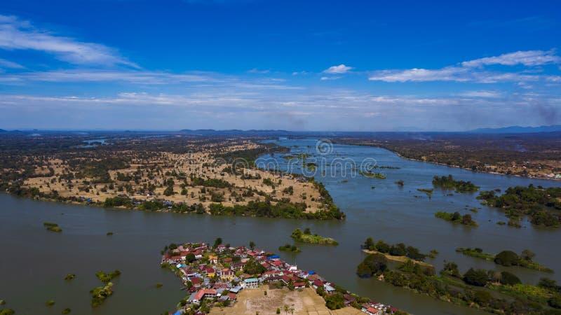 Don Det, Don Khon-dorp en Mekong landschap van de Rivier het hoogste mening, Laos royalty-vrije stock foto
