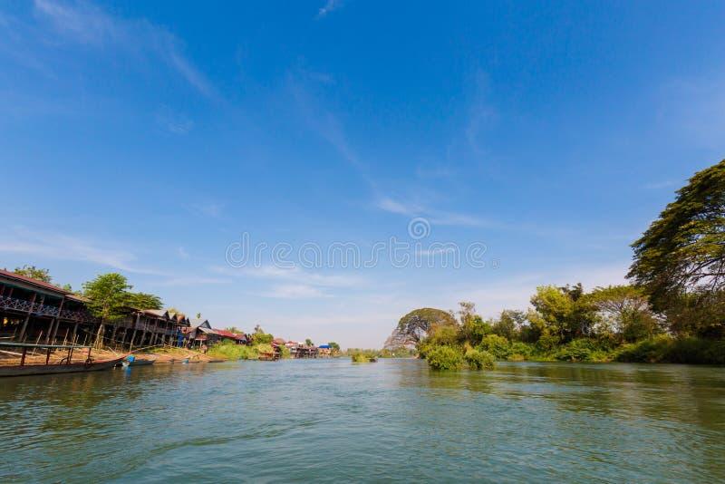 Don Det van boot Mekhong royalty-vrije stock foto's