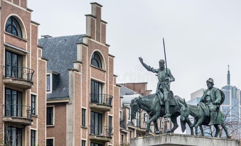 Don donkiszot i Sancho w Bruksela fotografia royalty free