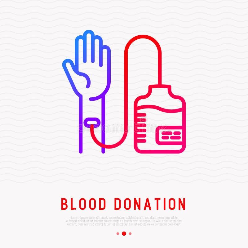 Don du sang : transfusion de main au sac de sang illustration de vecteur