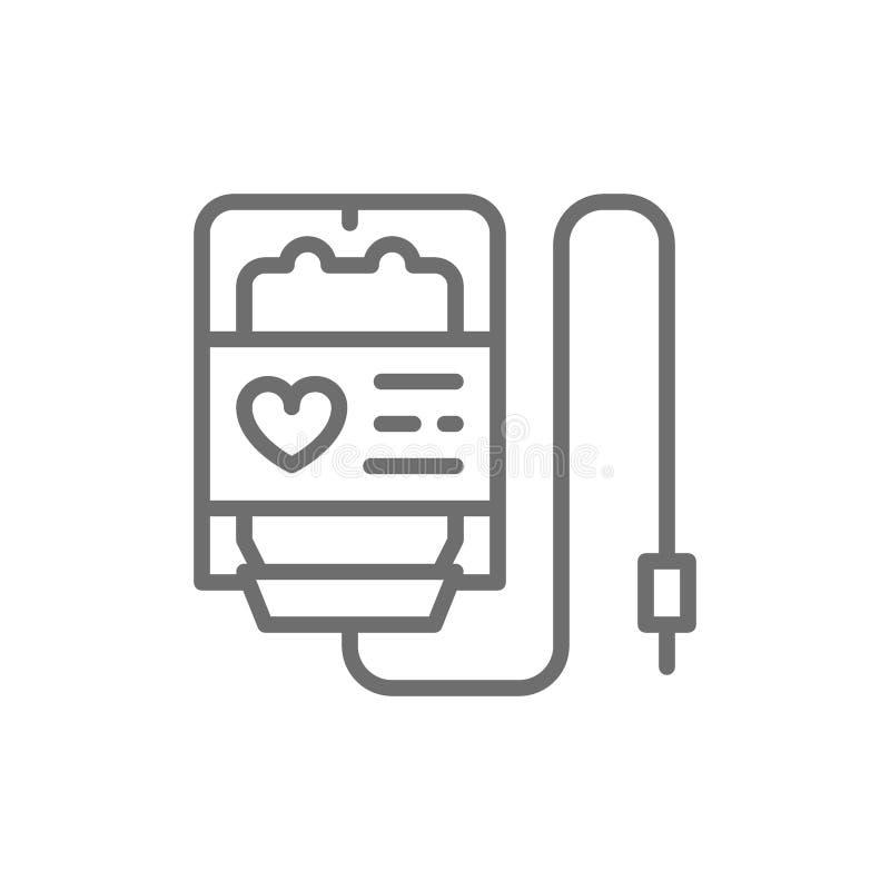 Don du sang, transfusion, offrant, ligne icône de charité illustration stock