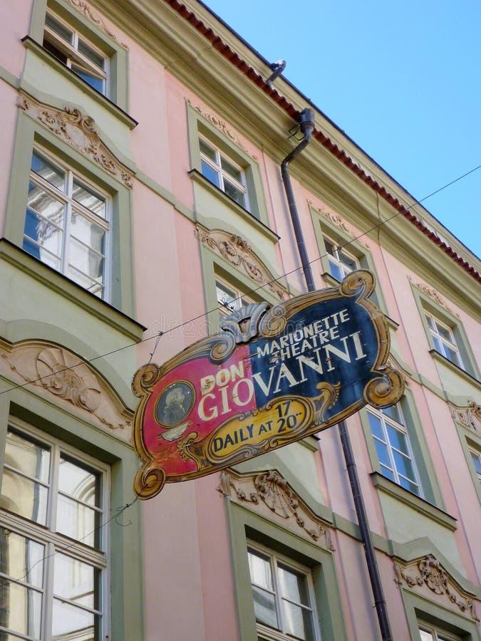 Don Giovanni Puppet Theatre, Praag, Tsjechische Republiek stock foto's