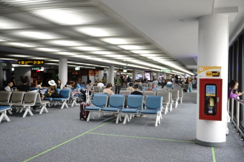 Don Meung airport in Bangkok, Thailand. There are many low cost airlines operate here. Air Asia is one of the famous low fare carriers. From waiting rooms, we stock photo