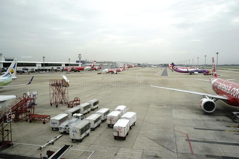 Don Meung airport in Bangkok, Thailand. There are many low cost airlines operate here. Air Asia is one of the famous low fare carriers. From waiting rooms, we royalty free stock image