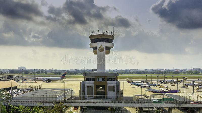 Don-Muang air traffic control tower in airport with clear blue sky, Bangkok, Thailand stock photo