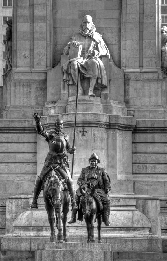 Don Quichote Statue in Madrid lizenzfreies stockbild