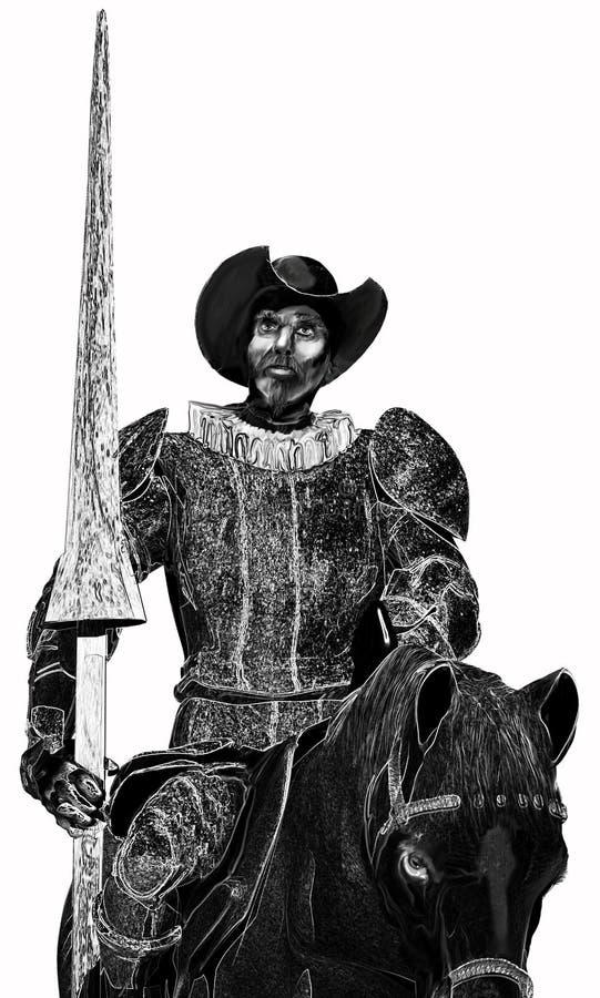 Don Quichotte noir et blanc illustration de vecteur