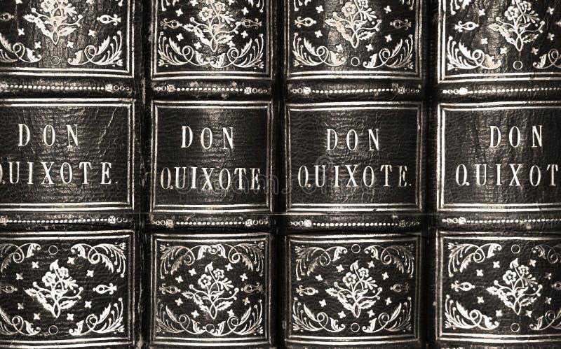 Don Quixote Antique Book Series i svartvitt royaltyfria bilder