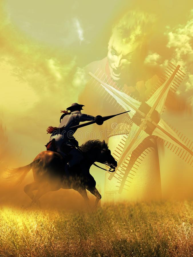 Don Quixote Attacks the Windmills. On castilian fields, under the hot sun, Don Quixote attacks a windmill, watching it as a giant stock illustration